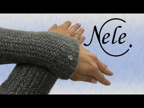 Stricken - Fischgrätmuster stricken, Herringbone, Pulswärmer stricken - DIY Anleitung by Nele C. - YouTube
