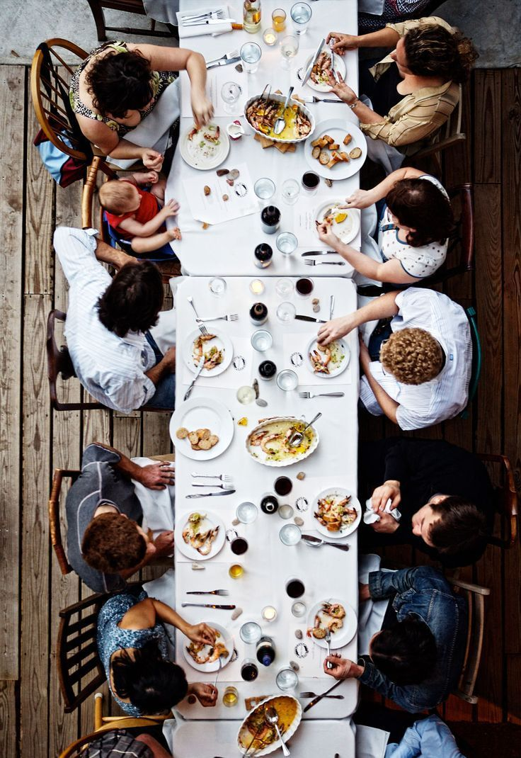 sharing a meal around a table
