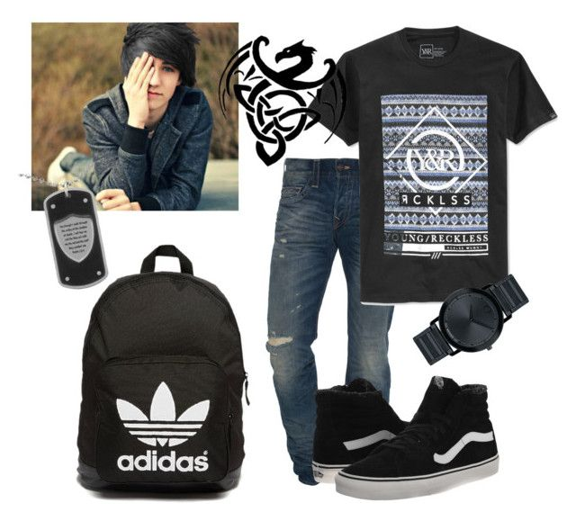 """MDBB B Tristan School on Wednesday Outfit"" by stilinskiismybatman ❤ liked on Polyvore featuring True Religion, Unending Love, Young & Reckless, adidas Originals, Movado and Vans"