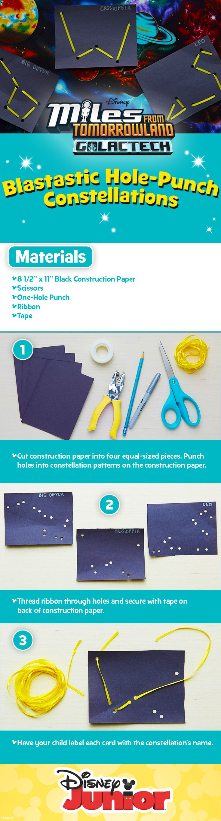 Miles From Tomorrowland Galactech Blastastic Hole-Punch Constellations Activity | Have fun creating and teaching your kids about the constellations with this simple DIY Memory Game!