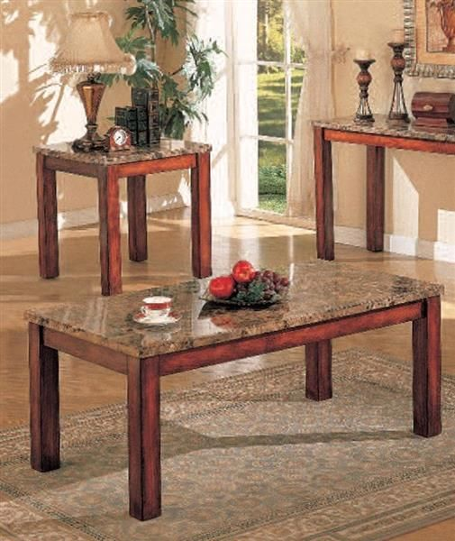 Bologna Brown Cherry Marble Wood Coffee Table Set