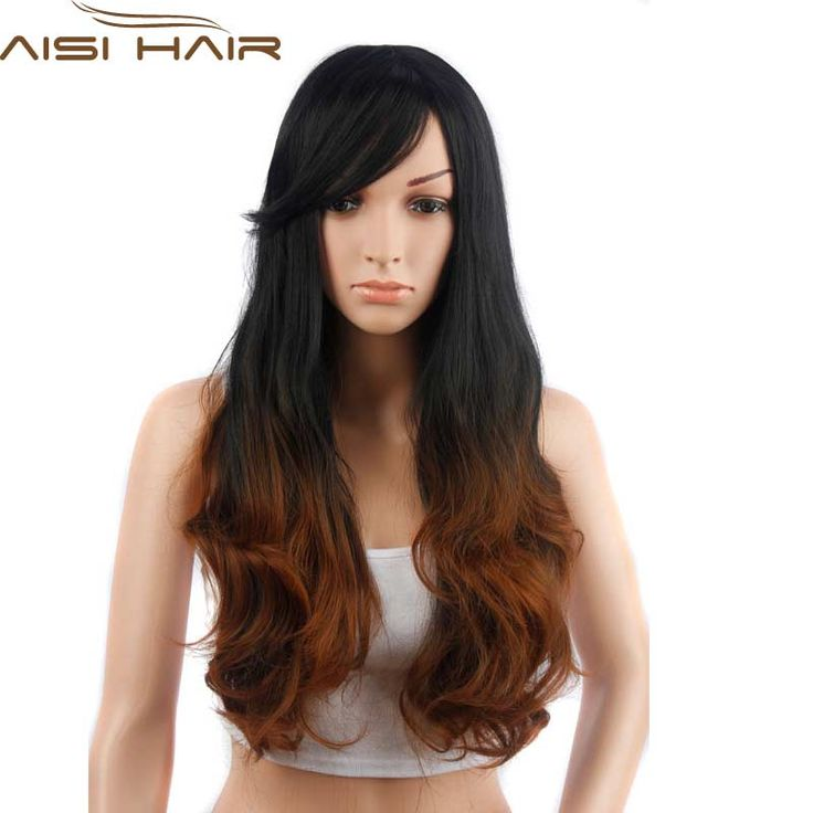 Brown Synthetic Long Wavy Ombre Women Cheap Hair Wigs for Women Sale 28 inch Ombre Long Wave Hair for Black Women Wigs