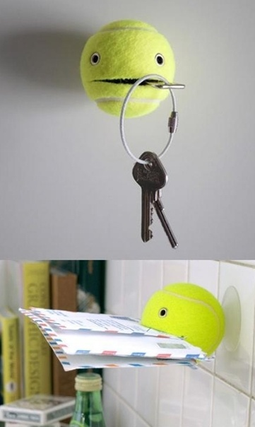 Ha ha, wat een leuk recycle idee! - Old tennis balls? Yup, they can be recycled in useful ways too!