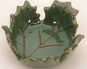 Green Maple Leaf Dish, bowl, jewelry dish, spoon rest, nature lover