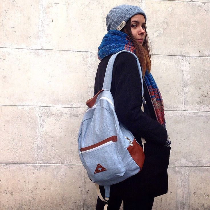 Backpack leather fabric blue