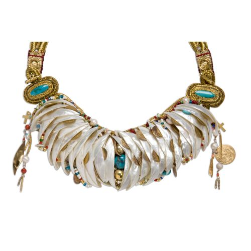 "Necklace made from shells, pearls, turquoise gemstones, coral gemstones, glass and gold beads, velvet, leather, gold and silk threads, gold and silver plated bronze chains, from the collection ""The Treasure of Aphrodite""."