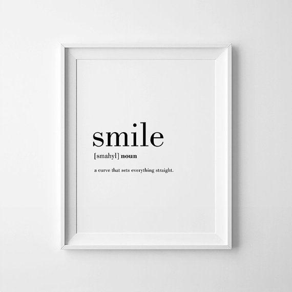 Impresiones minimalistas sonrisa definición carteles por printabold