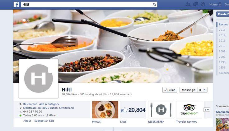Hiltl - vegetarisches Restaurant. Zeigt historische Fotos, Rezepte, interagiert mit der Community, reagiert auf Fragen.