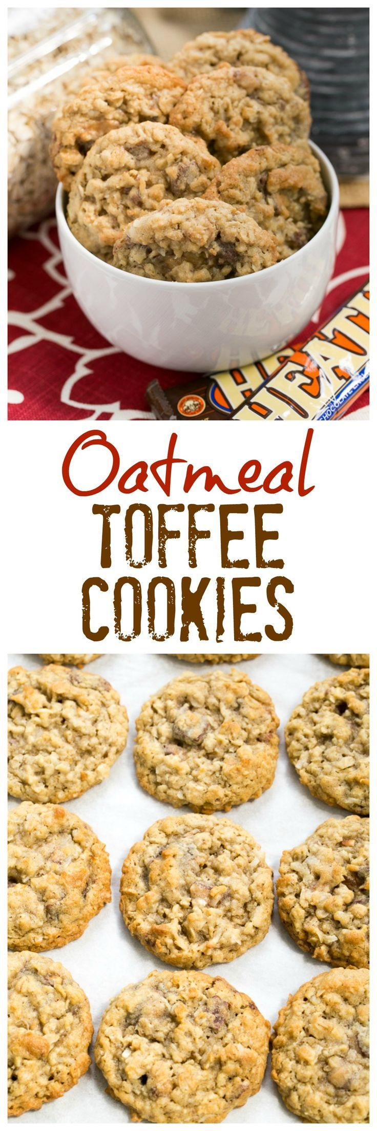 Chewy Oatmeal Toffee Cookies with a coconut bonus! @lizzydo
