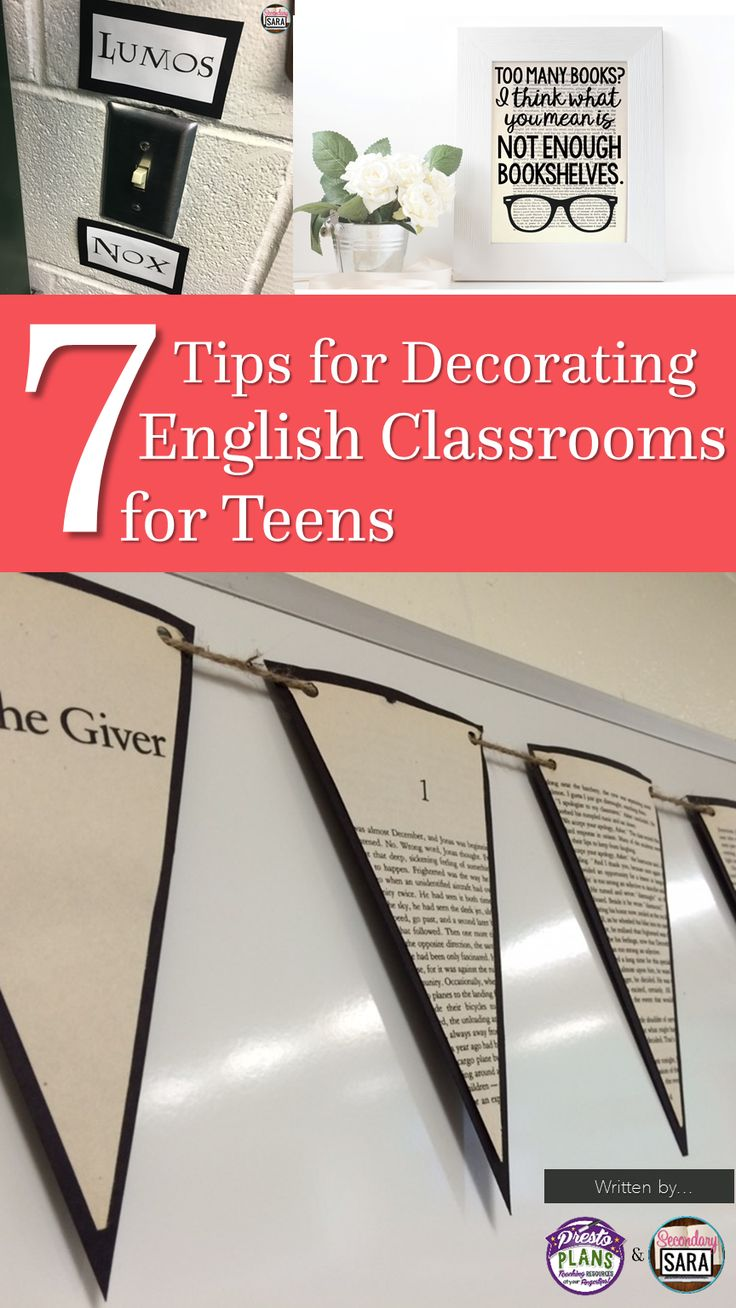 Blog post - 7 tips for decorating an English classroom for middle or high school, written by Secondary Sara and Presto Plans!