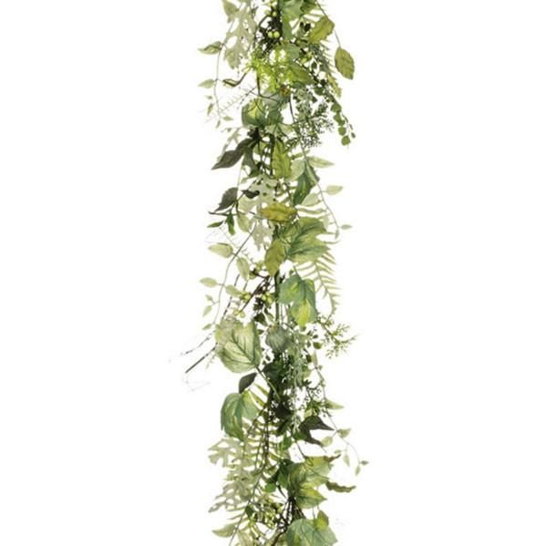 Artificial garlands make wedding arches, mantels and tables special. This gorgeous mixed greenery garland is perfect to make a floral runner. Shop Afloral.com.