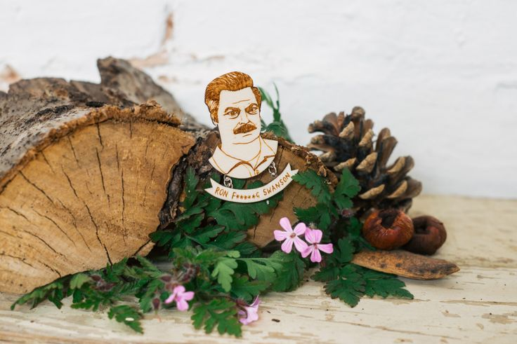 Parks & Recreation Brooch - 'Ron Swanson' by kateslittlestore on Etsy https://www.etsy.com/listing/155610710/parks-recreation-brooch-ron-swanson
