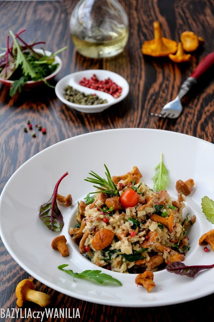 Diet risotto with mushrooms, arugula, and red and green peppers (beware: recipe is in polish, translator needed)