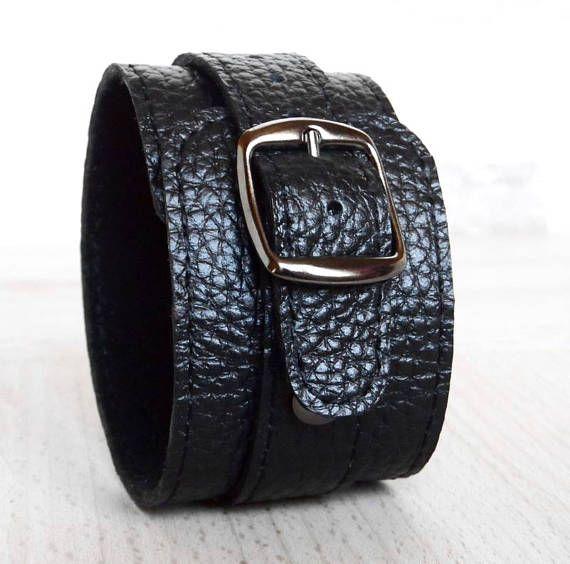 Genuine Leather Bracelet 42 mm Black Leather Wristband. Price: 25$.