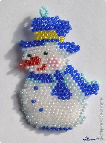 Игрушка Новый год Бисероплетение снеговик Бисер фото 1