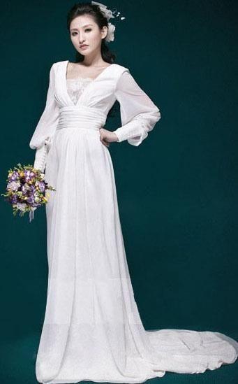 Свадебное платье с шифоновыми рукавами