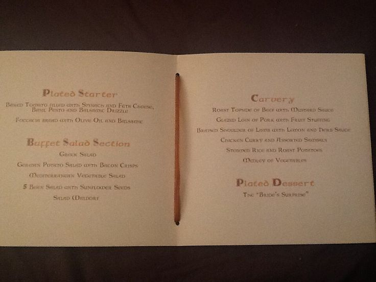 and the MENU still looks scummy, I could do with that starter again! what a wedding!