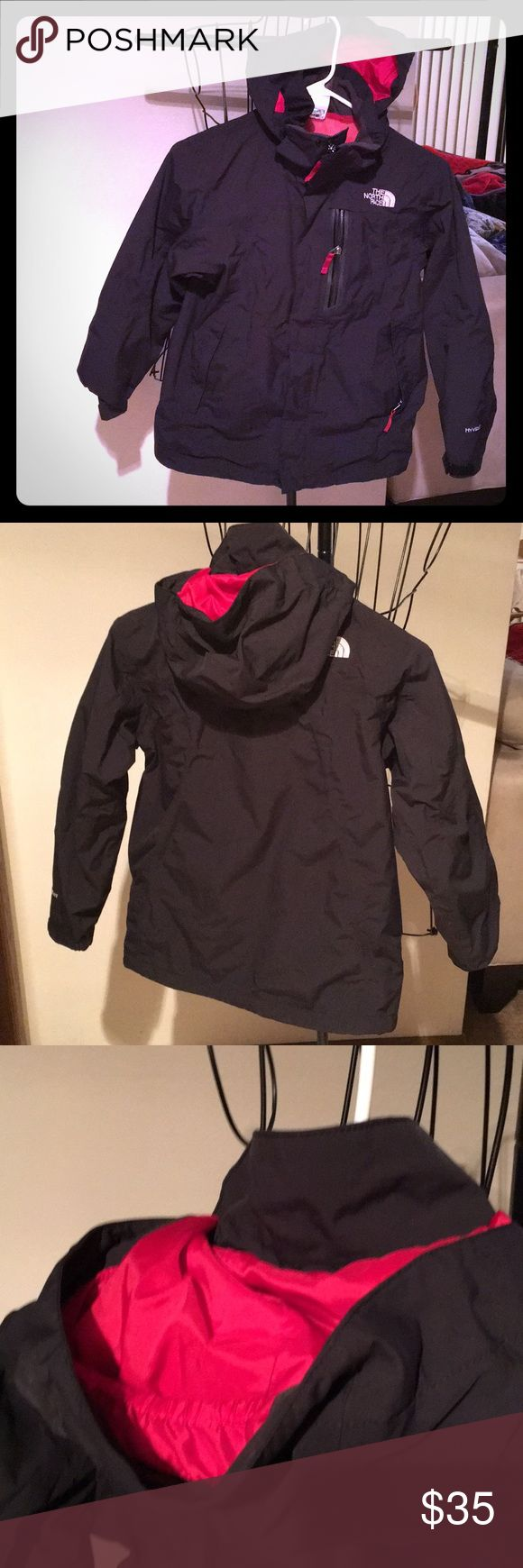 Boys north face jacket, perfect for the rain! My son grew out of this jacket, has been worn and washed, has his name on the inside label in case it got lost at school. It's a great rain and wind jacket, will keep your little one warm and dry! The North Face Jackets & Coats Raincoats