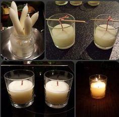 Van oude kaarsen kan je zelf ook weer leuke nieuwe kaarsen maken. Het glas ( Nutella) heeft onderaan een mooie sierrand.