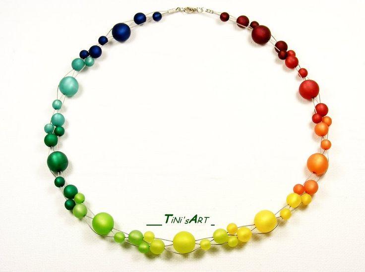 Glasketten - Regenbogenkette, Polarisperlen - ein Designerstück von TiNisART bei DaWanda