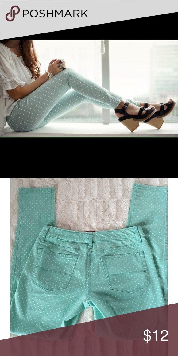"Mint green and white polka dot jeans Mint green skinny jeans with white polka dots. ""Merona"" size 4. 98% and 2% Spandex Merona Pants Skinny"
