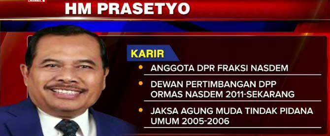 JAKARTA, (tubasmedia.com) – Teka-teki siapa yang akan duduk sebagai Jaksa Agung terjawab sudah. HM. Prasetyo, politikus dari Partai NasDem, ditunjuk Presiden Joko Widodo mengisi kursi yang kosong itu.