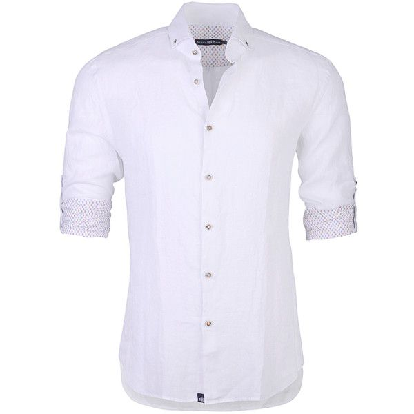 Stone Rose White Pastel Linen Button Down Shirt (384488001) ($159) ❤ liked on Polyvore featuring men's fashion, men's clothing, men's shirts, men's casual shirts, men, tops, menswear, shirts, guy shirts and white