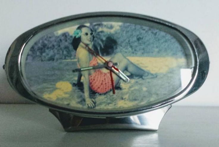 Fab #1950s Style #Pinup posed Chrome Oval #AlarmClock, £10obo by @bertieandpercy - Chrome oval vintage alarm clock with beach babe pinup image. Working order.  1950's style but probably a later repro item. Great item all the same and look fab on a vintage dressing table or sideboard.  #summer #beach #vintage #clock #rockabilly #retro #kitch #1950s