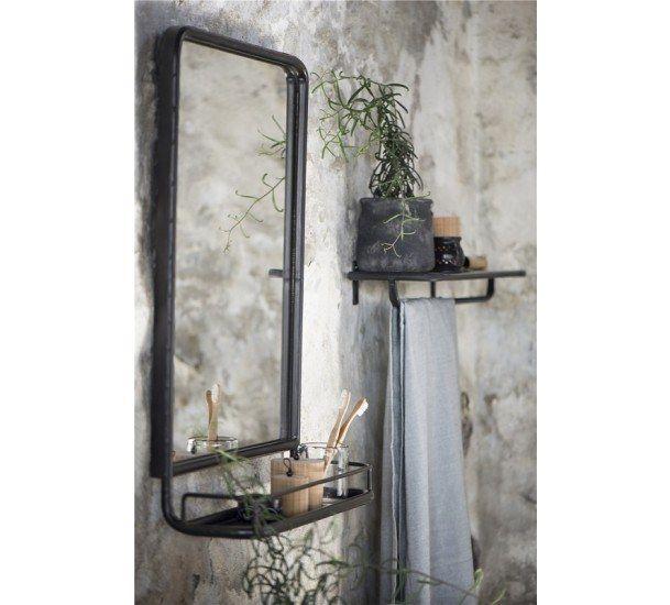 Ib Laursen - Spejl med hylde - Sort - Sort spejl med metalramme