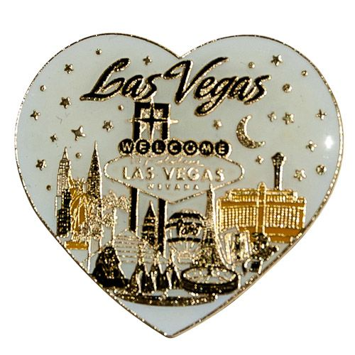 Metal Fridge Magnet: United States. Nevada. Las Vegas. Sign Heartshape