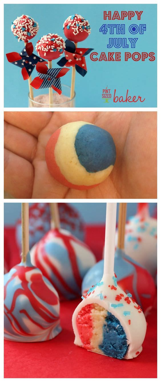 Celebrate the USA with these Red, White, and Blue Cake Pops. Full step-by-step tutorial with photos. Perfect for Memorial Day weekend and the 4th of July!
