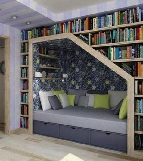 Reading nook with surrounding shelves