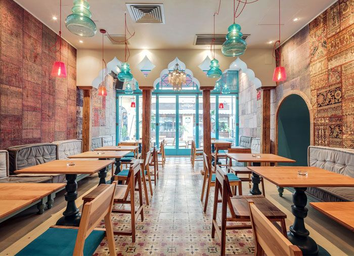 Exotic Oriental Restaurant Decor ottoman arcs lighting decor