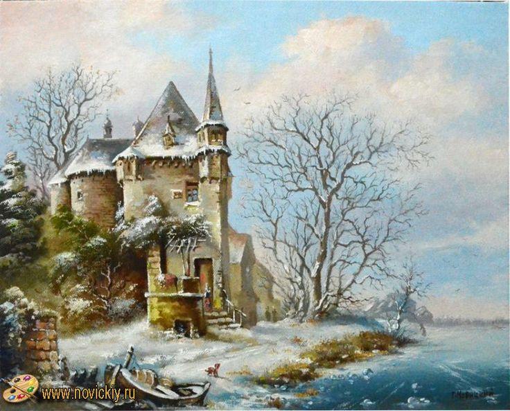 Зимний вид с лодкой у берега - Голландские пейзажи - Галерея - Картины для интерьера