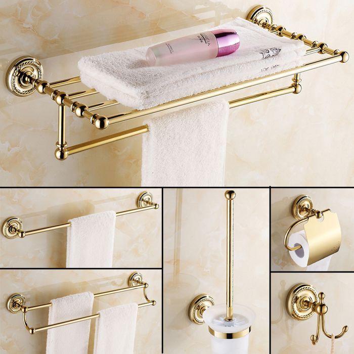 Antique Gold Polished Bathroom Accessories Europe Solid Brass Bathroom Hardware Gold Bathroom Accessories Bathroom Hardware Set Bathroom Hardware