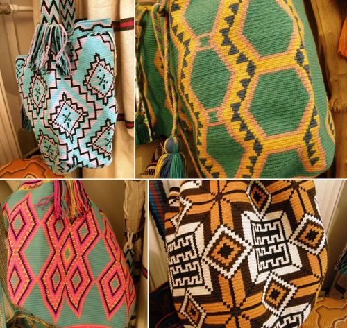 Crocheted bags (aka mochilas) by the Wayuu people in Colombia & Venezuela.