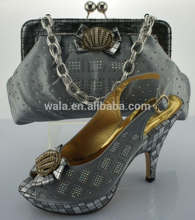 African shoes and bag set with rhinestone hight heel shoes heel 12cm SA50501-1 gray FOB Price: US $ 35 - 55 / Set | Get Latest Price Min.Order Quantity: 1 Set/Sets Supply Ability: 3000 Set/Sets per Month