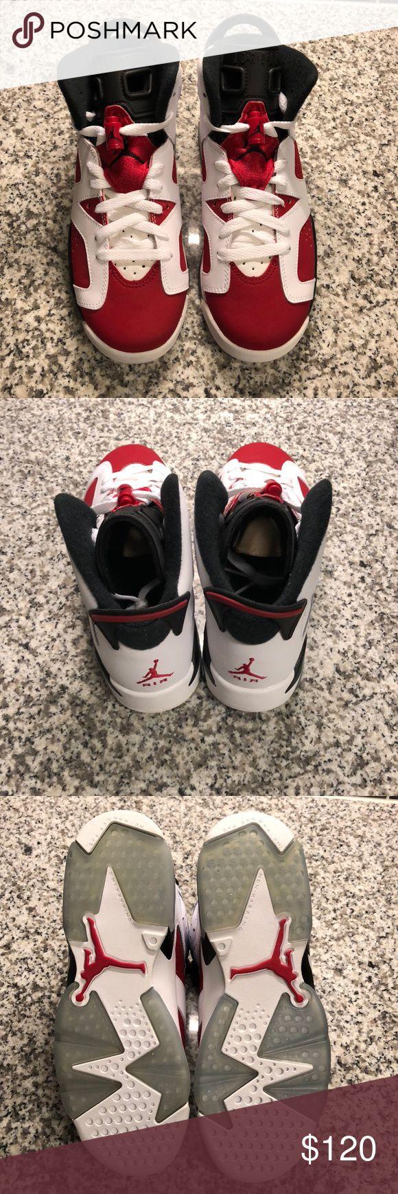 "Air Jordan Retro 6 ""Carmine"" 2014 Release Authentic Retro 6 Air Jordan's. Never worn. This is a 5.5 in kids or a 7 in women's Air Jordan Shoes Sneakers"