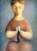 A knitter by Ludmila Jirincova-Novakova