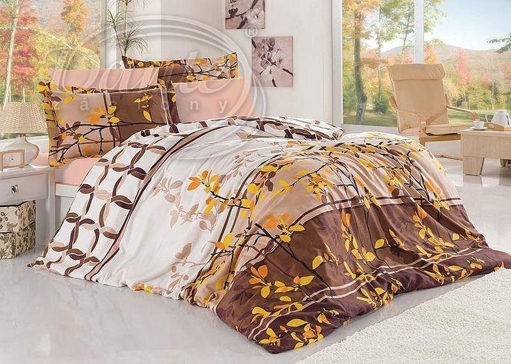 Jakostní povlečení z pevné bavlny s přírodními motivy v krásných odstínech hnědé barvy.     Vzor je oživen žlutými lístky.     Povlečení je vyrobeno ze 100% bavlny.     Zapíná se na zip.
