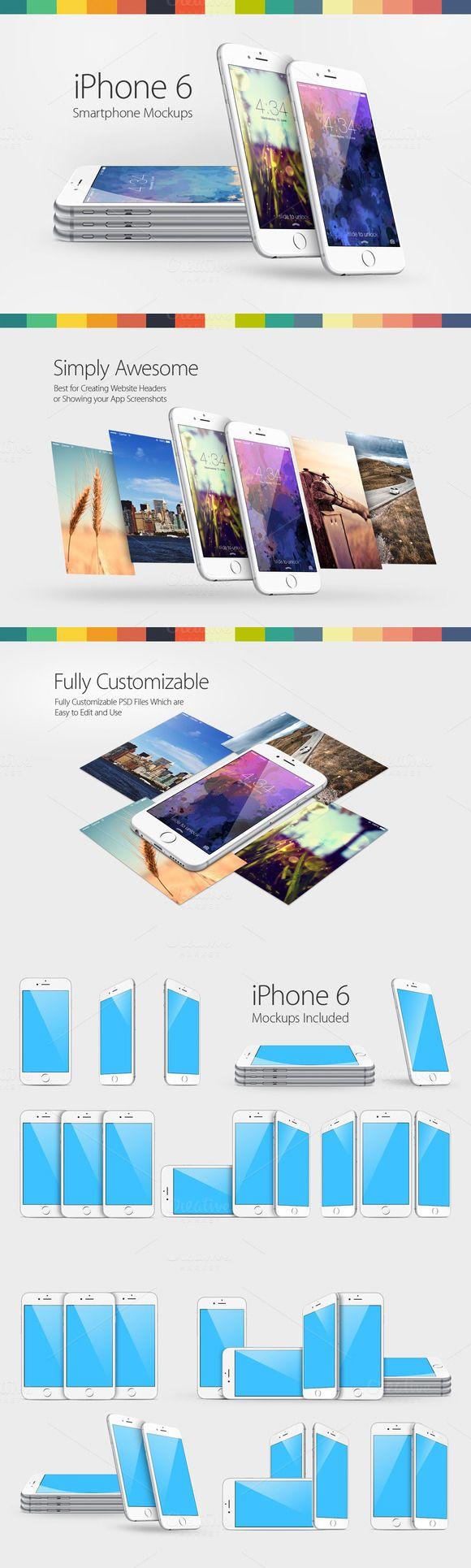 iPhone 6 Mockups #iphonemockup #iphone6mockup Download: https://creativemarket.com/YD-LABS/114628-iPhone-6-Mockups?u=ksioks