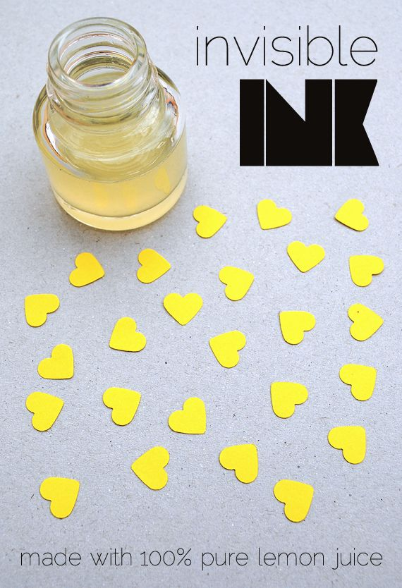 Invisible ink w/just lemon juice :D Also a cute V-day idea. (But mostly appeals to my inner secret agent.): Valentine Crafts, Invisible Message, Kids Science Experiments, For Kids, Secret Messages, Diy'S Invisible, Invisible Ink, Ink Messages, Lemon Juice
