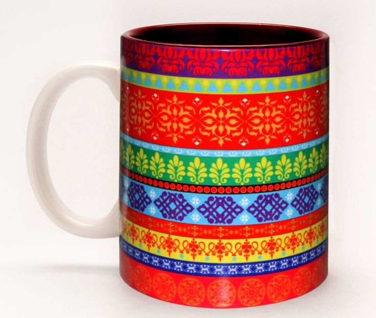 Saree Border Mug - For centuries, Indian tapestrees have been adored and admired by people all over the world for its bright colours and rich designs. This bright and design will instantly bring life and vigour to your wardrobe. A hint of ethnic elegant mixed with a bright pop of colour and texture.A great mug to keep at the office to brighten up your spirits during a boring Monday morning meeting.