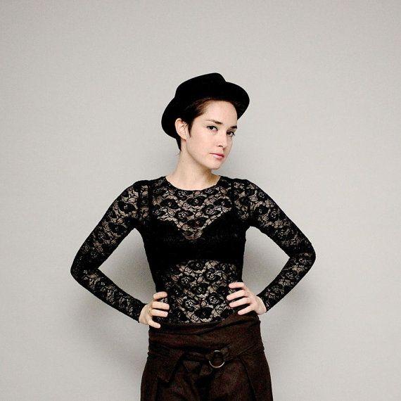 Black lace shirt Black lace blouse Basic lace by MayaEplerFashion, $38.00