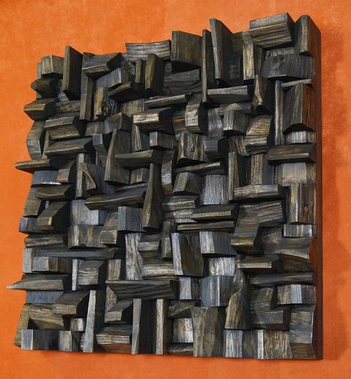 акустические деревянные панели, звуковой рассеиватель, искусство акустической обработки, деревянные блоки, панели, переработанная древесина искусство