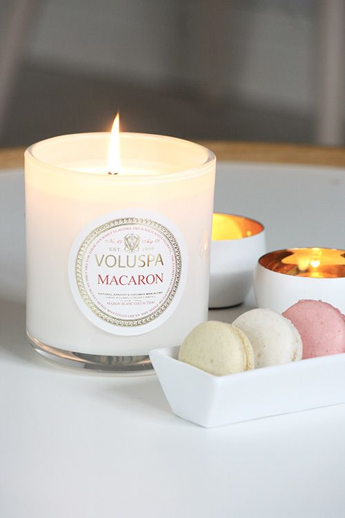 Macaron scented Voluspa candle.