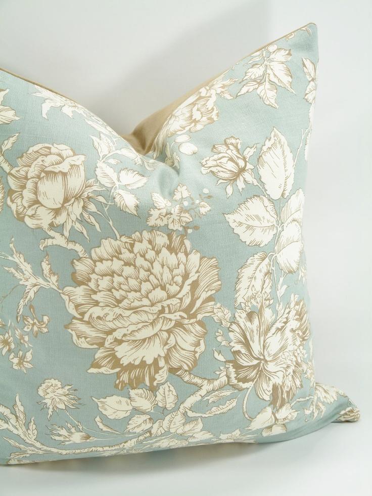 Decorative Floral Pillow Cover - 18x18 - Hidden Zipper - Throw pillow - Designer Pillow - Floral - Robins Egg Blue - Beige - Tan - Velvet. via Etsy.