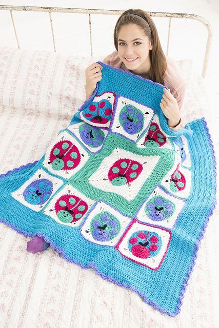 Lucky Ladybug Throw Free Crochet Pattern LW4931