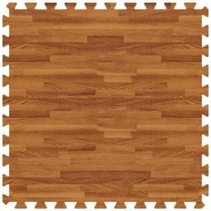 Really awesome gym flooring for my running space - Groovy Mats Dark Oak 24 in. x 24 in. Comfortable Wood Grain Mat (100 sq.ft. / Case)-GYCWGMDO at The Home Depot