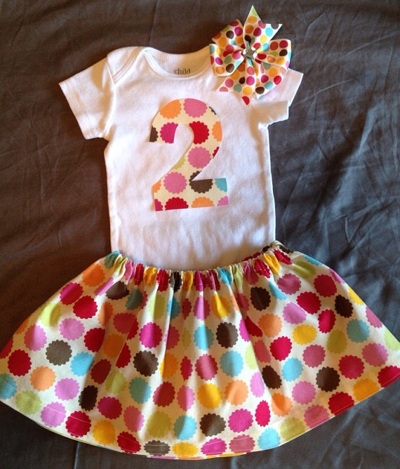 Baby Girl 2nd Birthday Outfit Colorful Silly Dots